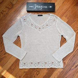 BCBG MaxAzria beaded open knit sweater